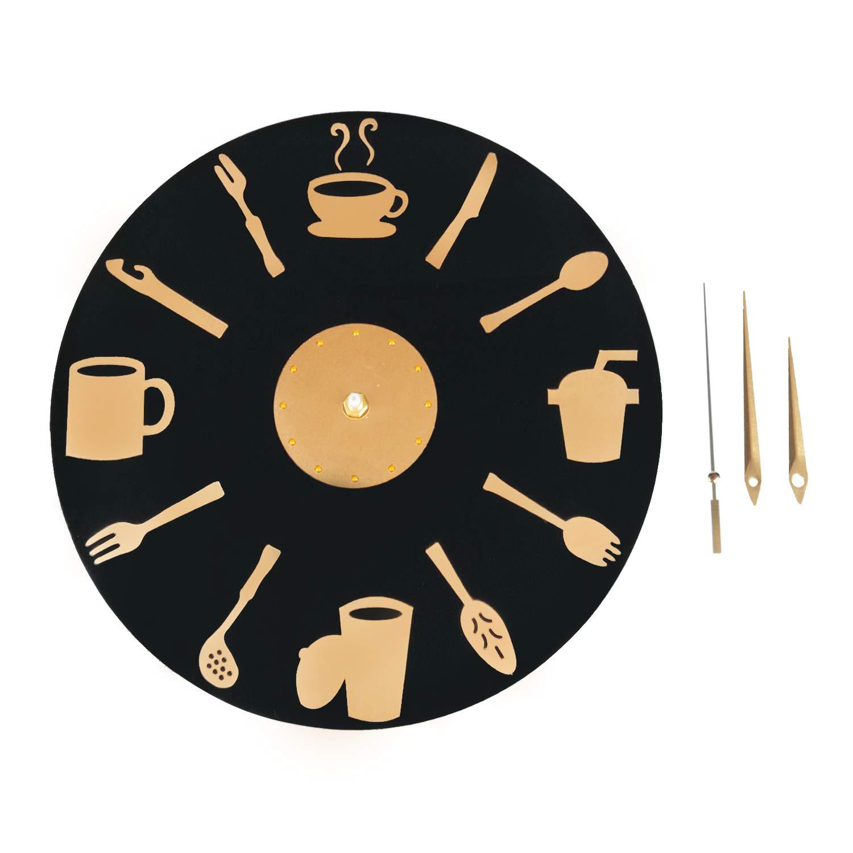 Diametro 30 cm ufengke Orologio da Parete Cucina Forchetta Fai da Te Orologio da Muro Moderni Nero al Quarzo per Salotto Bar
