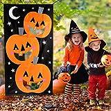 Hokic Halloween Pumpkin Bean Bag Toss Games with 3 Bean Bags Halloween Party Games for Kids Party Halloween Decorations