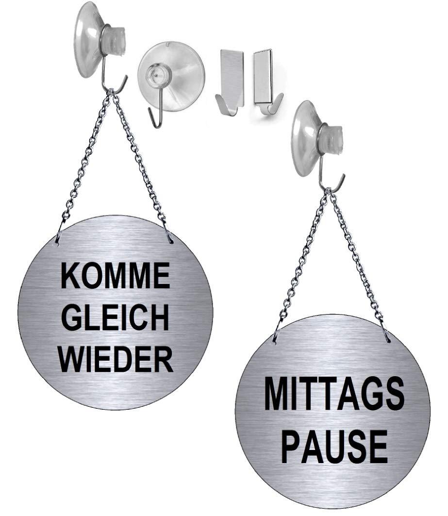 139-15 - mit Klebehaken Desi-Schilder Mittagspause-Komme gleich Wieder-Alu.-Edelstahloptik-Wendeschild-Infoschild-H/ängeschild-Schild-130 mm /Ø-Mit Kettchen
