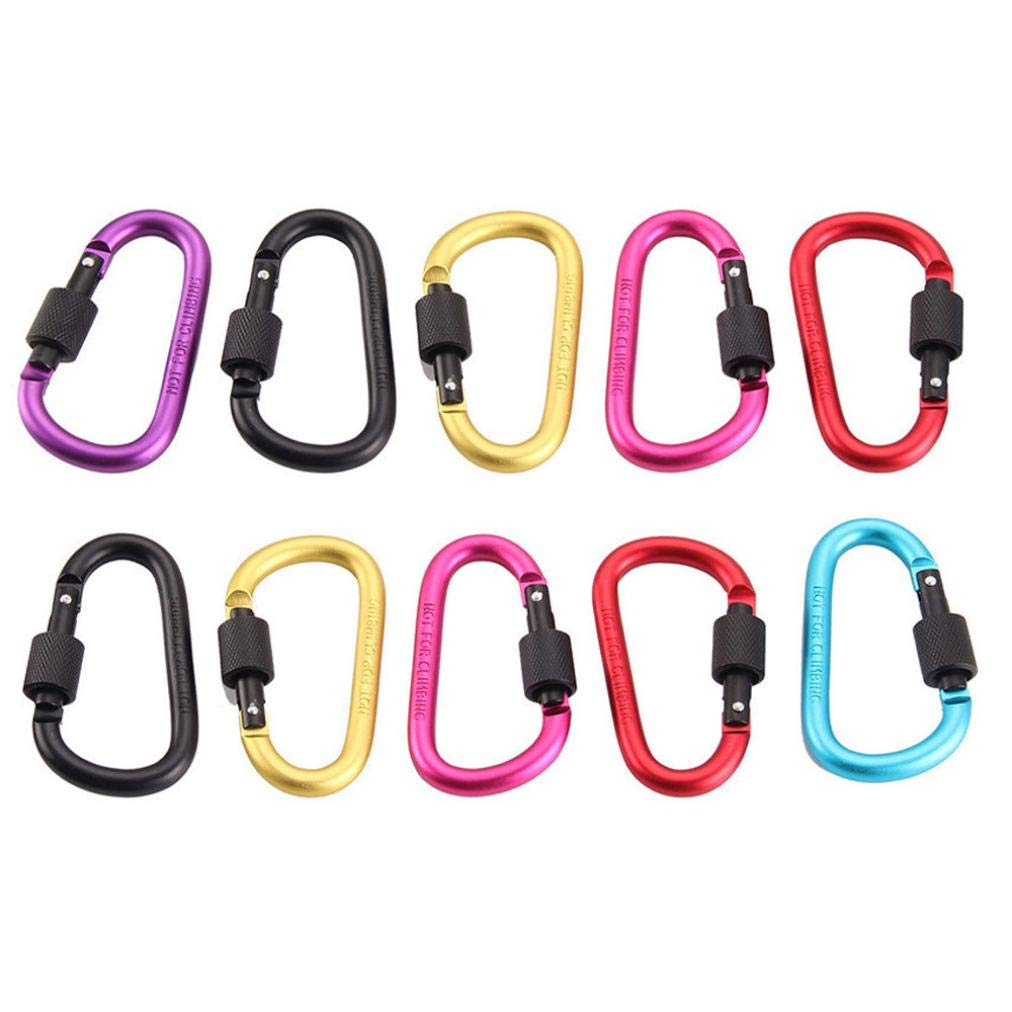Carabiner Clips, Sacow 10 pc Aluminum D Shaped Screw Locking Spring Clip Hook Keychain Buckle for Camping, Hiking, Fishing
