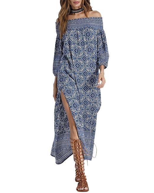 intera collezione a buon mercato promozione speciale Vestito Lungo Elegante Donna Vestiti Con Spalle Scoperte ...