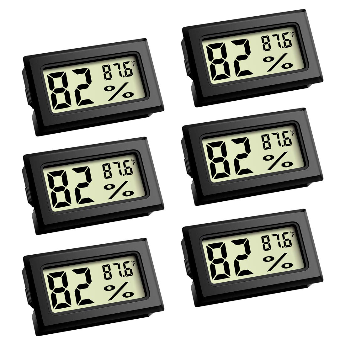 Mini Thermometer, Digital Refrigerator Freezer Thermometer with LCD Display - 6 Pack Fahrenheit (℉) Thermometer Hygrometer for Humidors, Greenhouse, Garden, Cellar, Fridge, Closet by COOES