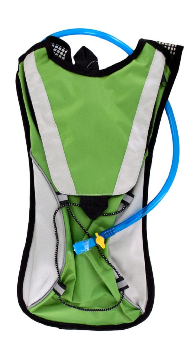 Kole Import Hydration Backpack 2L Bladder with Flexible Drinking Tube, Lightweight for Running, Hiking, Cycling, Hunting, Fishing, Survival (Green) by Kole Import