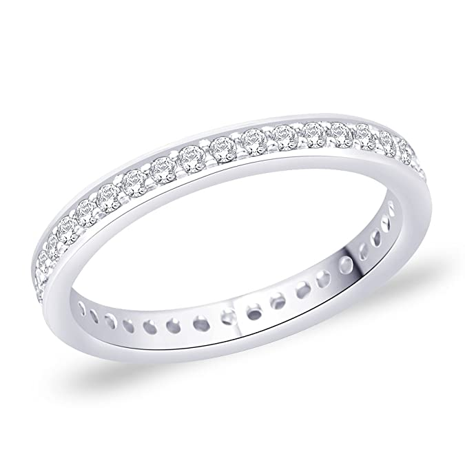 Peora Silver Eternity Band Ring for Women Women's Rings at amazon