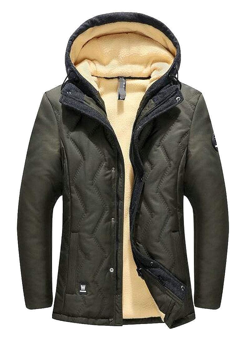 XXBlosom Mens Winter Outwear Thicken Wool Lined Hooded Parka Jackets Coat