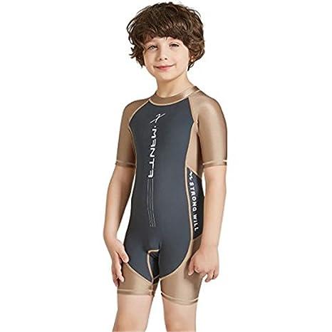 9ca1025a22 Little Kids Boys Girls One Piece Sun Protection Short Sleeve Zip Rash Guard Swimsuit  UPF 50