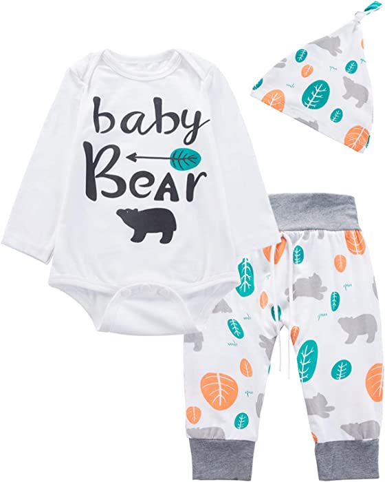 0f0c8353e97f 3PCS Newborn Boys Girls Baby Bear Outfit Set Cute Long Sleeve Romper (0-3