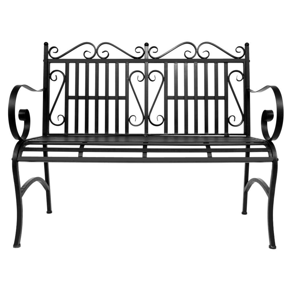 Outdoor Double Seat, Foldable Metal Antique Garden Bench, Folding Outdoor Patio Chair, Decorative Outdoor Garden Seating, Park Yard Bench with Decorative Cast Iron Backrest by CargoTi (Image #4)