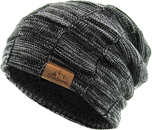 - KBW-274 BLK Long Oversized Slouchy Beanie Cap for Men and Women, and Styles Fleece Lined Winter Knit Warm Hat