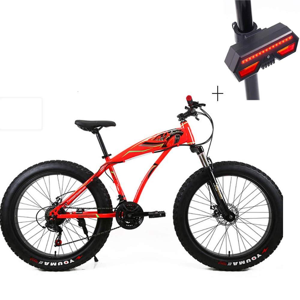 自転車、マウンテンバイク、26インチアルミ合金、フロント&リアディスクブレーキ、4.0スーパーワイドタイヤ+自転車ターンシグナル