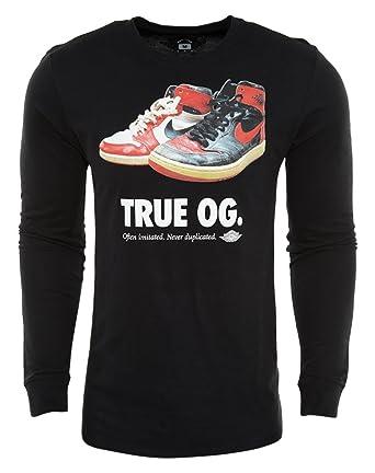 11e767fe8166f Amazon.com: Air Jordan Mens Retro 1 True OG Long Sleeve Shirt Black ...