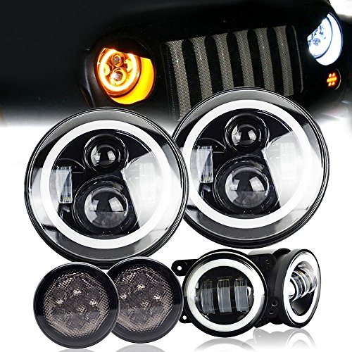 """DOT Projection Lens Angel Eye 7Inch Round LED Headlights With DRL Amber Turn Singal Hi/Lo Beam + 4"""" Halo Fog Lights + Amber Front LED Turn Signal Light Assembly For 2007-2017 Jeep Wrangler JK JKU"""