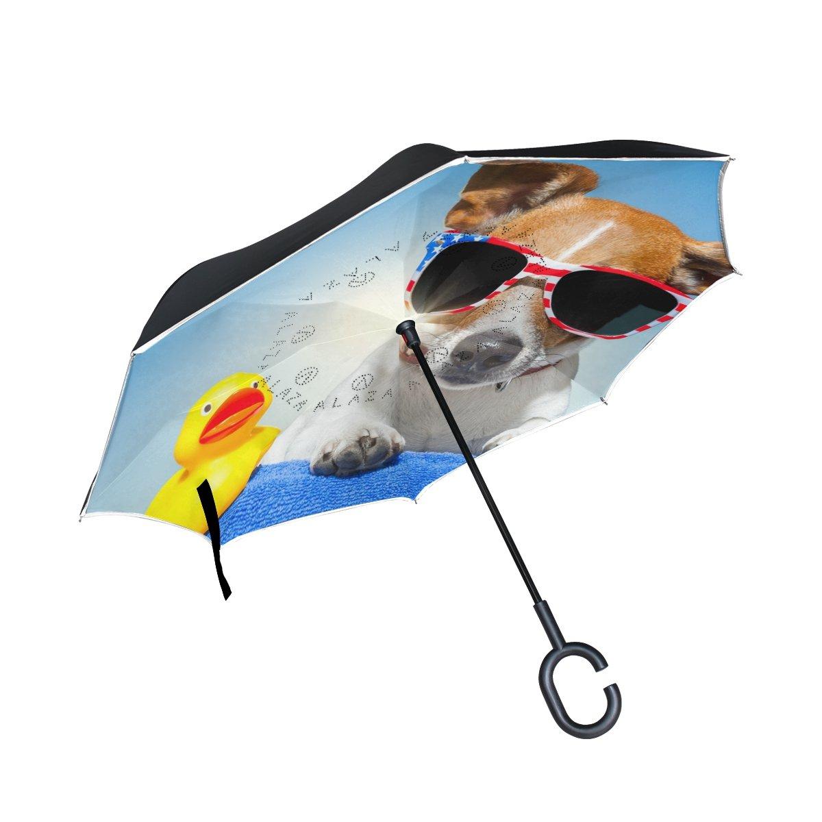 My Daily Double Layer Inverted傘Cars逆傘犬Duck Summer Vacation防風UVプルーフ旅行アウトドア傘   B07FCP7HHX