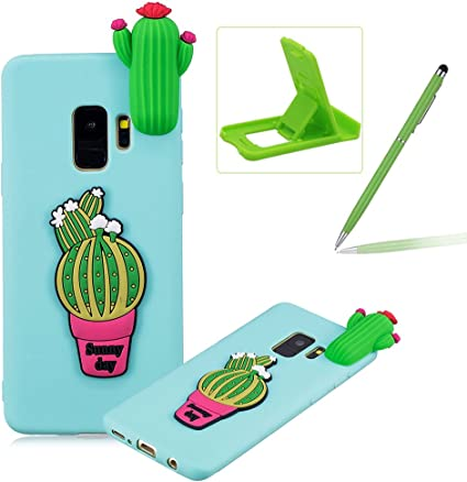 Coque Samsung S9 Silicone, Herzzer Dessin Style Mignon 3D Cactus Étui Housse de Protection Soft Doux TPU Gel Backcover Ultra Mince Léger Flexible ...