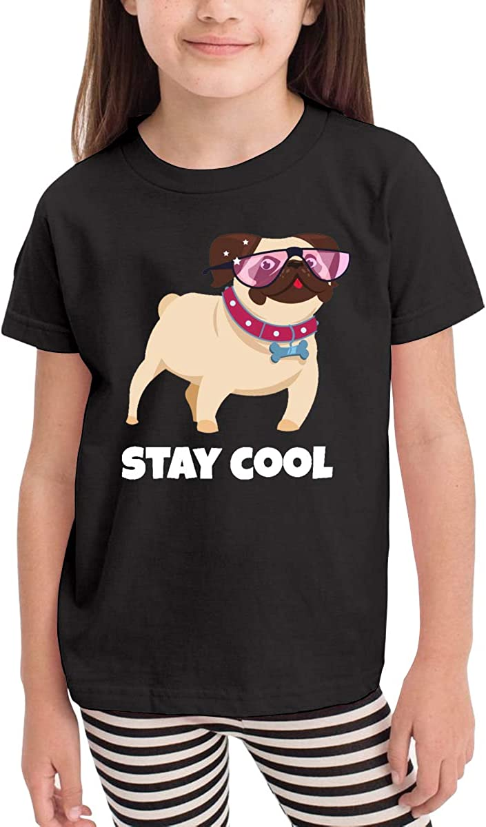Onlybabycare Pug Dog with Glasses Funny Puppy Toddler Boys Girls Short Sleeve T Shirt