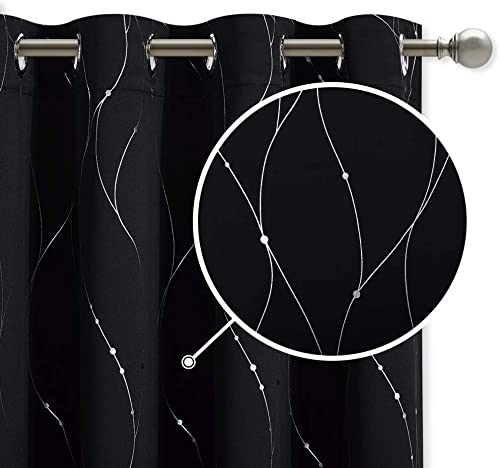 StangH Light Blocking Curtains Pair – Wave Line with Dots Foil Print Design Draperies Grommet Top Shades Blinds for Patio Sliding Glass Door, W52 x L84-inch, Black, 2 Panels