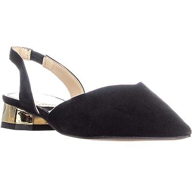 67bf6844f ADRIENNE VITTADINI Franny Pointed Toe Sling Back Sandals, Black, 5.5 US