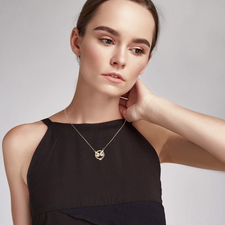 L/ÖB LGOK20 Collier avec pendentif en forme de chouette plaqu/é or et cristaux Swarovski Elements pour femme fille