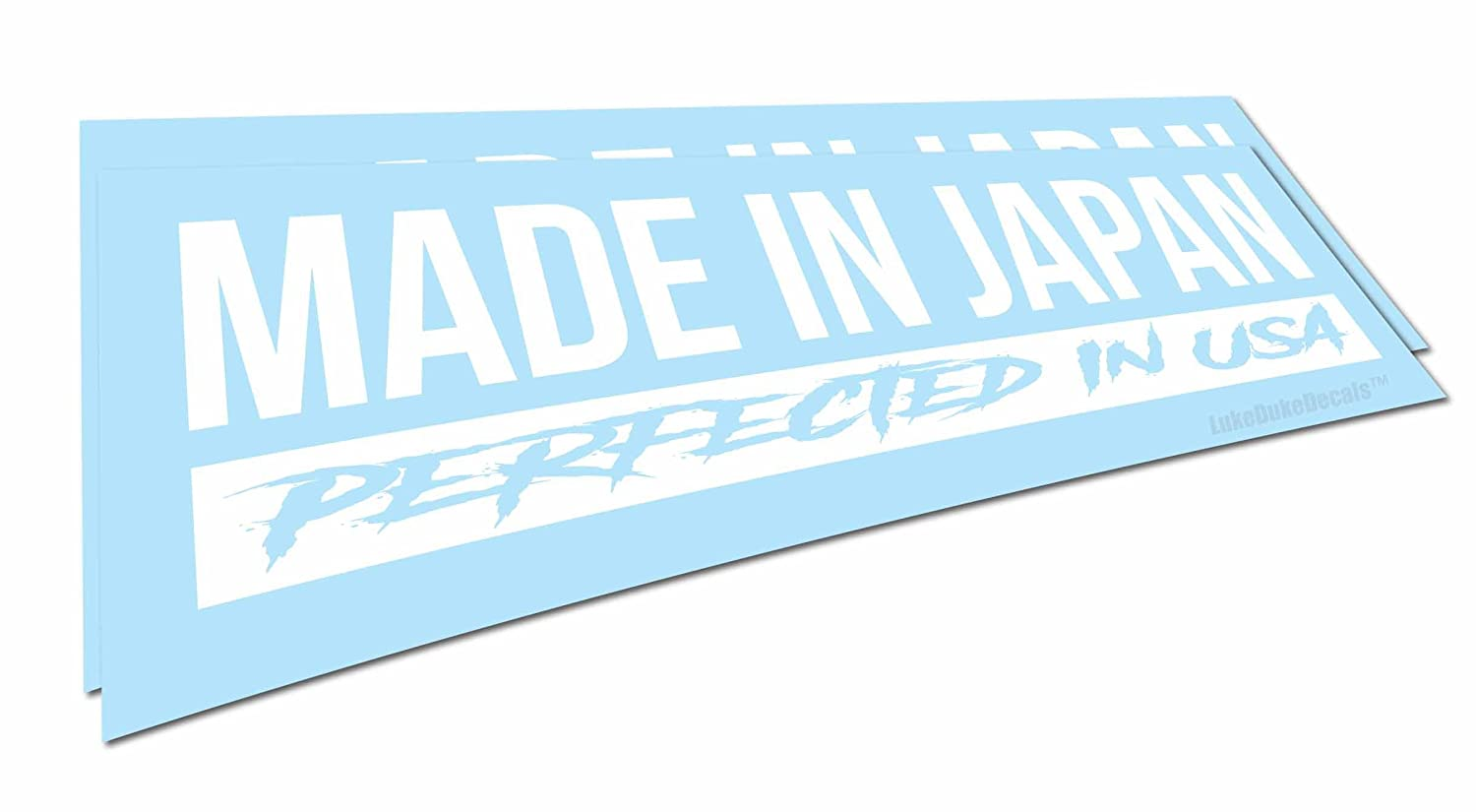Made in japan perfected in usa decals funny jdm style car vinyl stickers 2 pack 8 x 2 each waterproof 8 year life will not fade