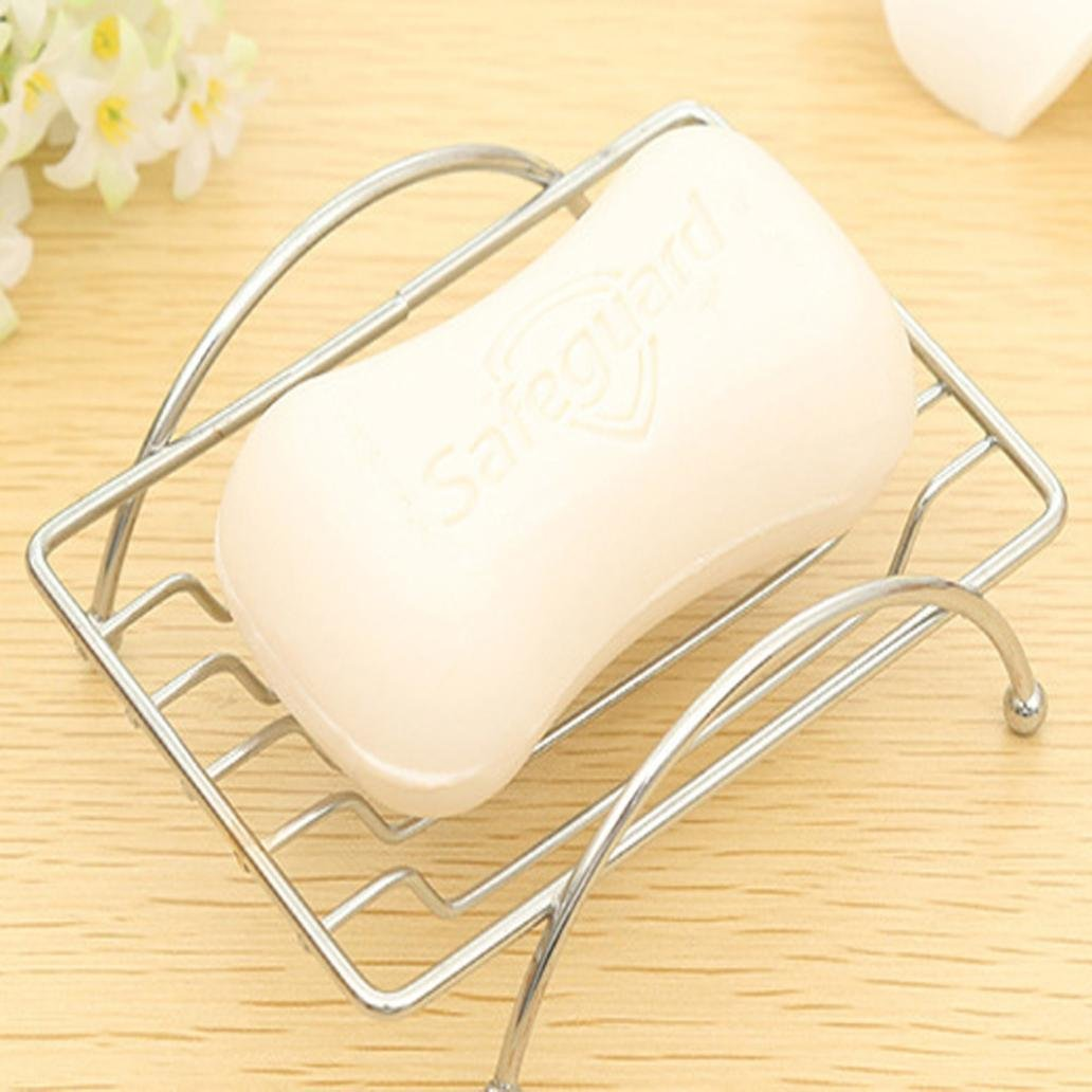 Gaddrt Soap Box with Drain Design Stylish Soap Dish Storage Rack - Stainless Steel Silver (A)
