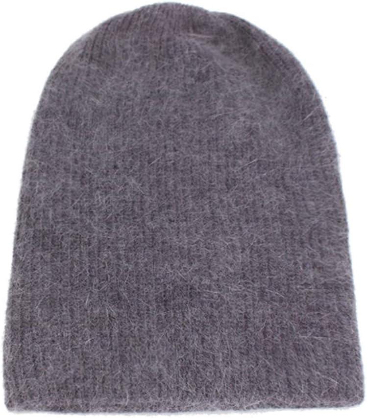 JKFXMN Sombrero De Invierno De Moda Mujeres Skullies Bonnet Sombrero De Punto Sombrero De Gorro Cálido Holgado Gris