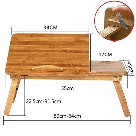 HXPH Mesa de Cama para Portátil Laptop Mesa Plegable de Bambú ...