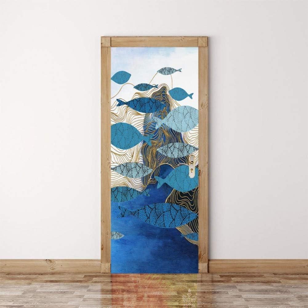 YOYODECOR Mural de Vinilo Paisaje Abstracto Etiqueta de la Puerta Famosos Cuadros de la Naturaleza Wallpaper Pegatinas En Las Puertas para Niños Habitación Autoadhesiva Arte de la Pared