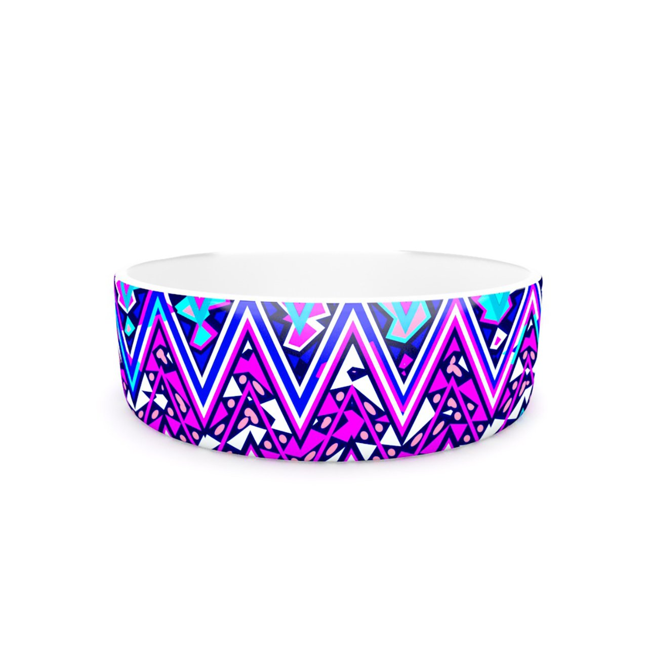 Kess InHouse Nika Martinez bluee Electric Chevron  Pet Bowl, 7-Inch