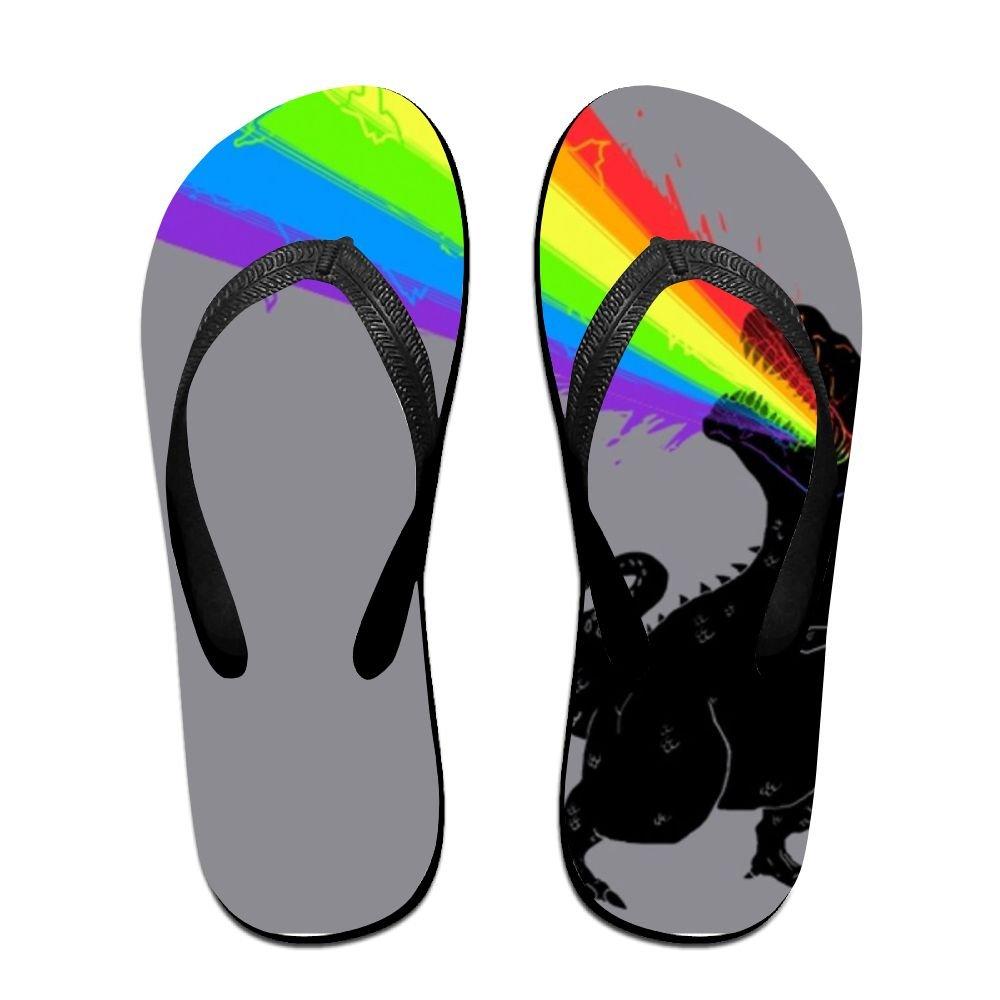 e08bcd4fba8a3 Amazon.com  Couple Flip Flops Dinosaur Rainbow Print Chic Sandals Slipper  Rubber Non-Slip Beach Thong Slippers  Clothing