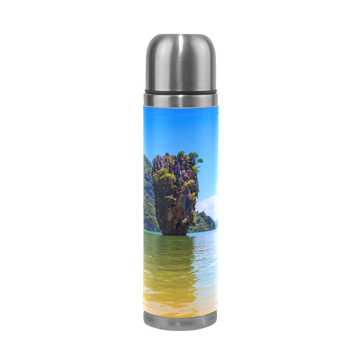 LEISISI Beautiful Thai Coast Stainless Steel Water Bottle Leak-Proof Vacuum Insulated Flask Pot Sport Double Wall Water Bottle PU Leather Travel Thermos Mug 17 Oz