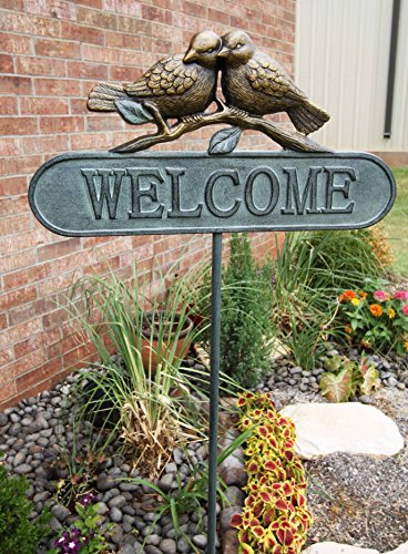 Gifts & Decor A Pair of Lovebirds Welcome Sign Greeter Aluminum Garden Stake 51
