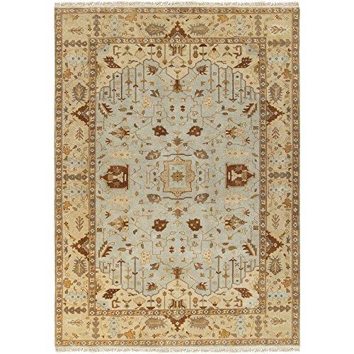 Surya Adana Wool - Surya Adana IT-1013 Classic Hand Knotted 100% Semi-Worsted New Zealand Wool Sky Gray 8' x 11' Traditional Area Rug