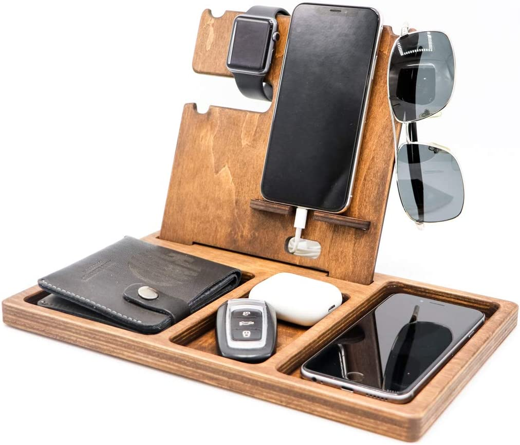 Wood Phone Docking Station Stand Watch Organizer Unique Nightstand Dad Birthday Gift for Men Male Travel Idea Gadgets Husband Wife Anniversary