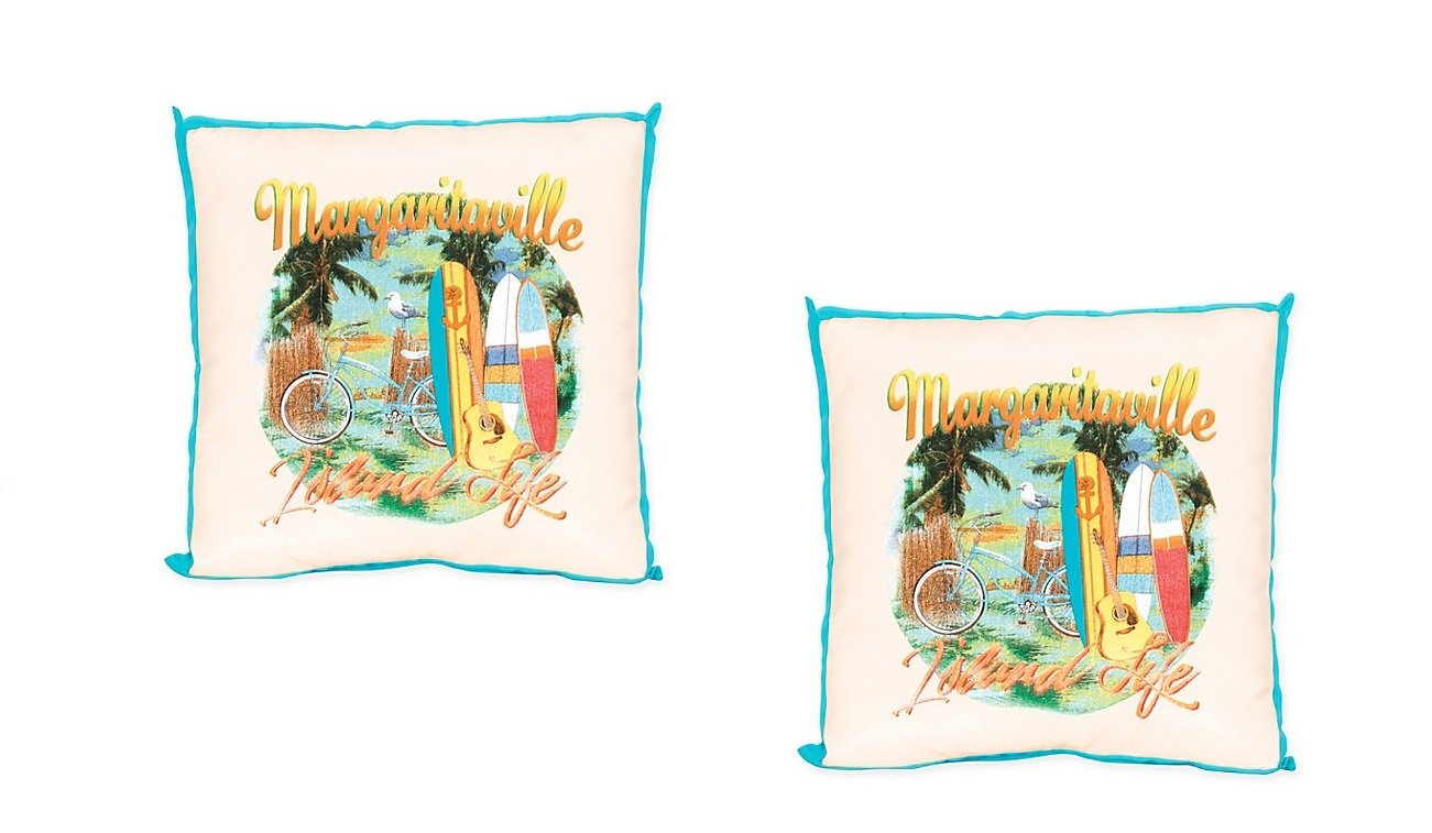 Margaritaville 2 Pc Window Pane 20-Inch Square Throw Pillow in Blue - Taiwan Polyester/Olefin