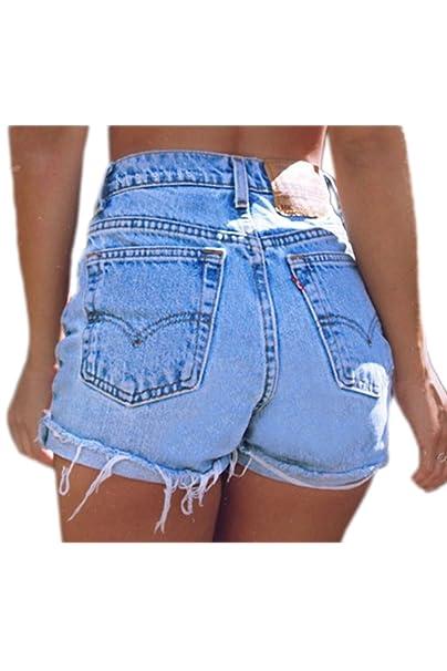 Sevozimda Las Mujeres De Cintura Alta con Flecos Casual Ringered Hot Jeans Denim Shorts