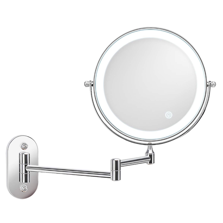 Alvorog-Espejo de maquillaje con luz led-Doble cara