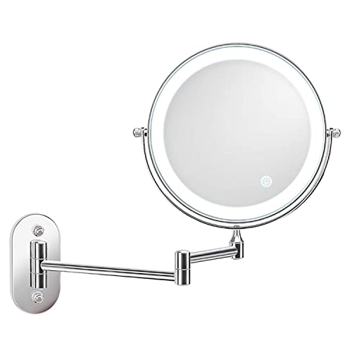 alvorog Wall Mounted Makeup Mirror 8 inches LED Touch Screen Adjustable Light Double Sided 1X 5X Magnifying Vanity Mirror Swivel Extendable