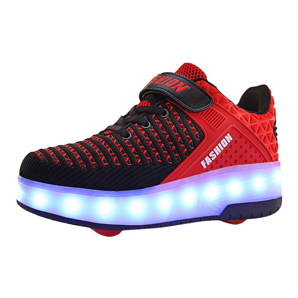 VEKDONE Kids Shoes Novelty LED Light Up Fashion Sneakers Wheels Skate Shoes Mesh Surface Roller Shoes As Gift(Red,7-7.5 Years) by VEKDONE Baby Shoes