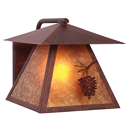 Architectural Bronze Finish Wet Location Sconce with Amber Mica Lens Steel Partners Lighting 9165-AB PONDEROSA PINE