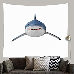 """Huayuanhurug Deep Fish Great White Shark Carcharodon Carcharias Travel Worlds Aquatic Attack Barrier Reef Beach Custom Tapestry Wall Hanging for Room Bedspread Living Room 59.1"""" × 51.2"""""""