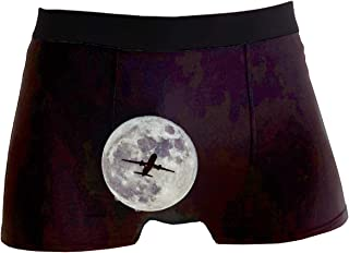 ZWETTET Men's Boxer Briefs Breathable Underwear Comfortable No-Ride up Space Station Moon Earth Mars Galaxy Universe Hipster