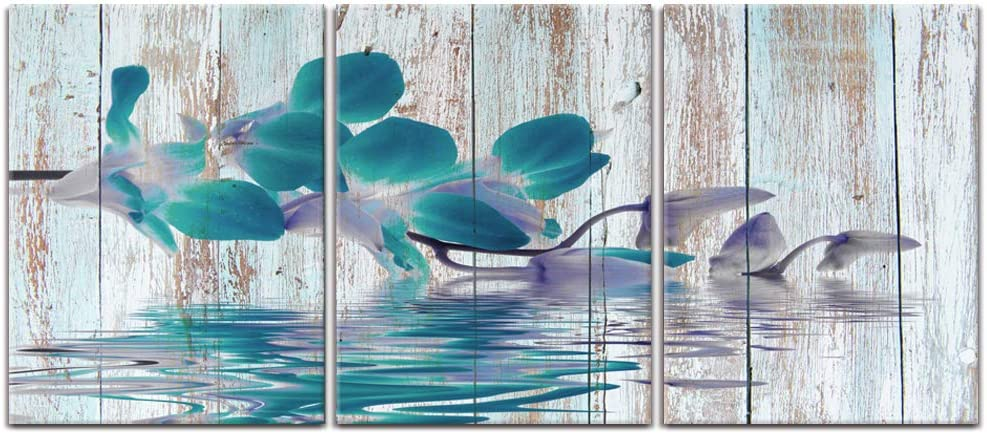 Visual Art Decor 3 Pieces Vintage Turquoise Orchids Flower Canvas Prints Wall Decor Premium Gallery Decor Rustic Retro Wood Texture Framed Floral Painting for Bedroom Bathroom Decoration