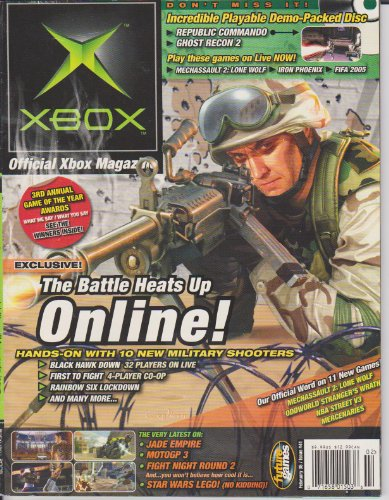 Oxm  Official Xbox Magazine  The Battle Heats Up Online  Hands On With 10 New Military Shooters  Black Hawk Down  First To Fight  Rainbox Six Lockdown  Jade Empire  Motogp 3  Fight Night Round 2  Star Wars Lego   Issue 41  February 2005