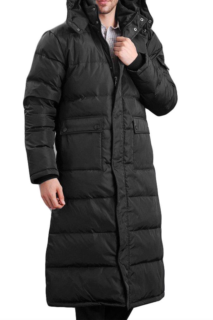 RUIXI Men's Windproof Warm Hooded Thick Duck Down Long Down Coat Jacket