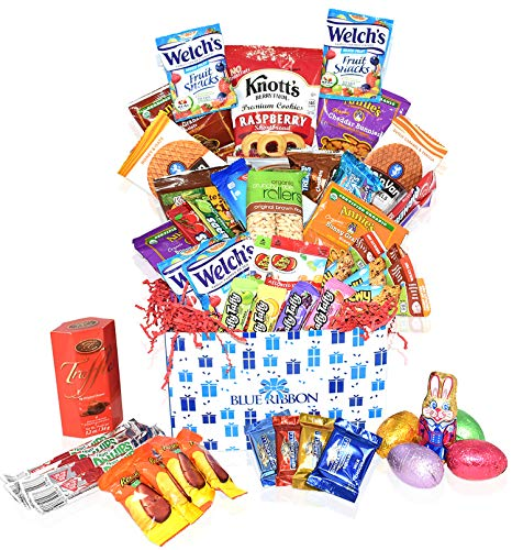 Easter Care Package (40 Count) - Filled with Candy, Egg Chocolates, Cookies and More.Perfect for Kids, Girls, Boys, College Students - Great Easter Gift Basket