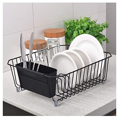 POPILION Great Value Antimicrobial Kitchen Dish Drying Rack,Black