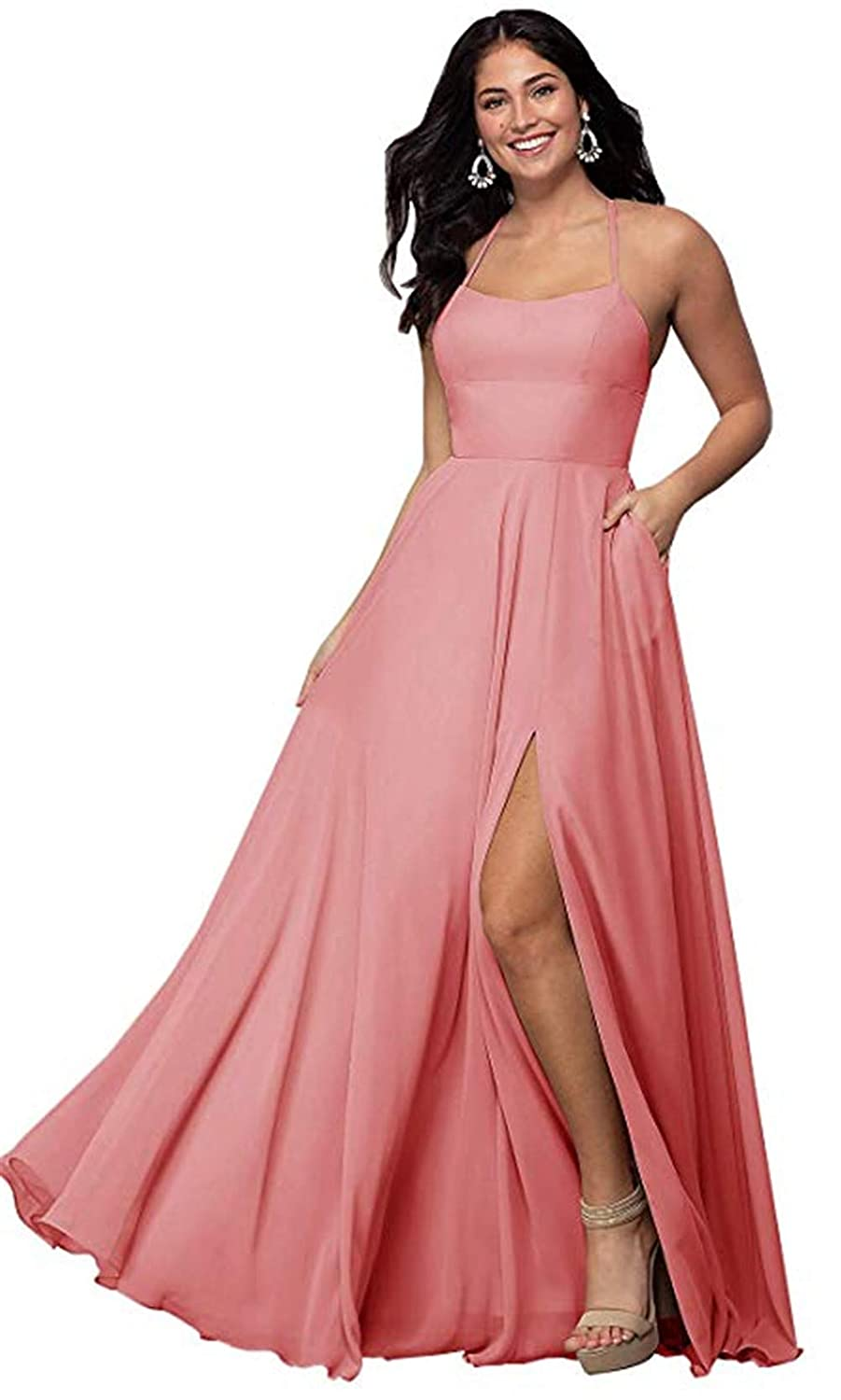 Coral Halter A Line Long Bridesmaid Dresses Split Prom Evening Gowns with Pocket