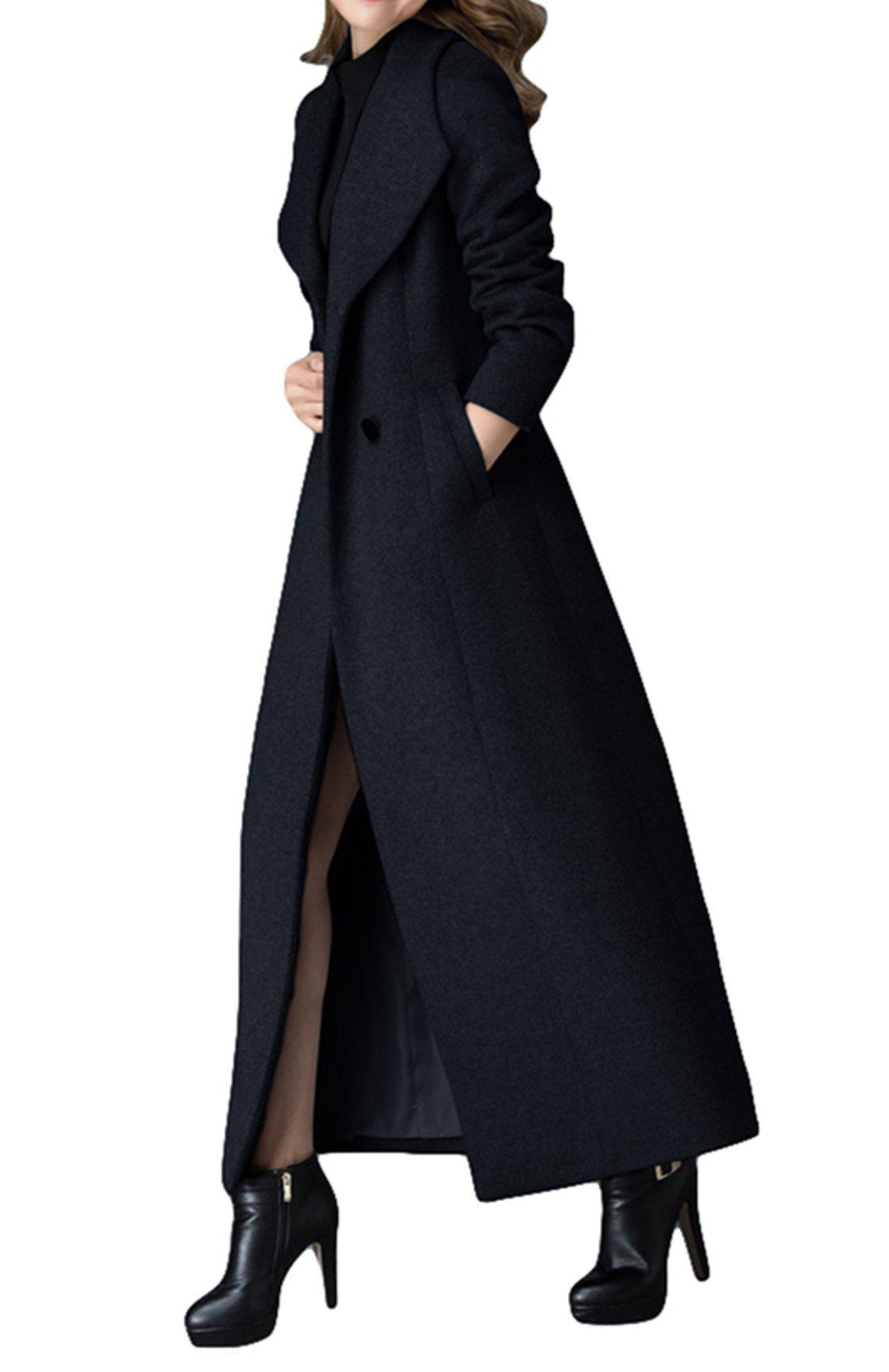 PENER Women's New V-neck cashmere coat Long Trench Coat Woolen coat (US 2)