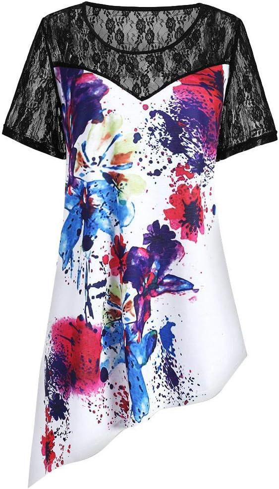NEEKY Camiseta para Mujer Desigual - Panel de Encaje de Manga Corta para Mujer Tie Dye Camiseta asimétrica Blusa Superior Informal: Amazon.es: Ropa y accesorios