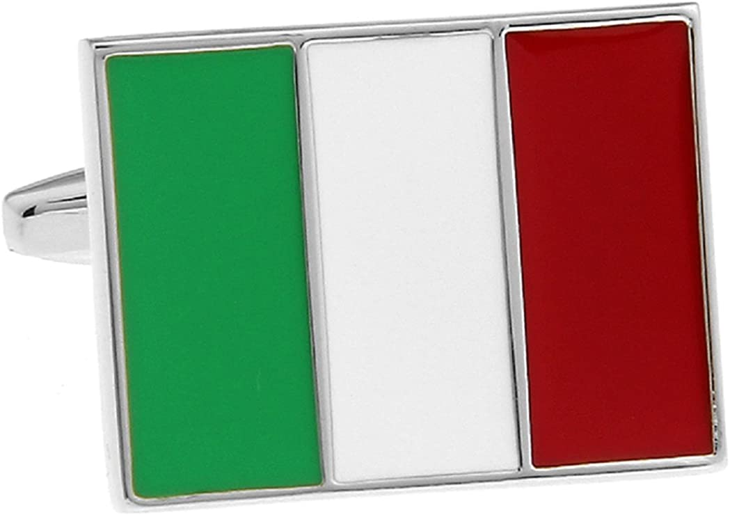 MRCUFF Italian Flag Italy Pair Cufflinks in a Presentation Gift Box & Polishing Cloth